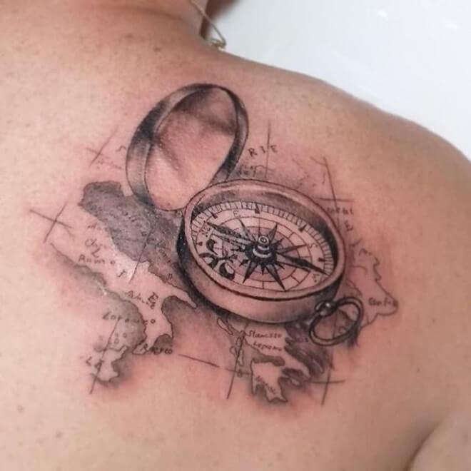 Girls Compass Tattoo