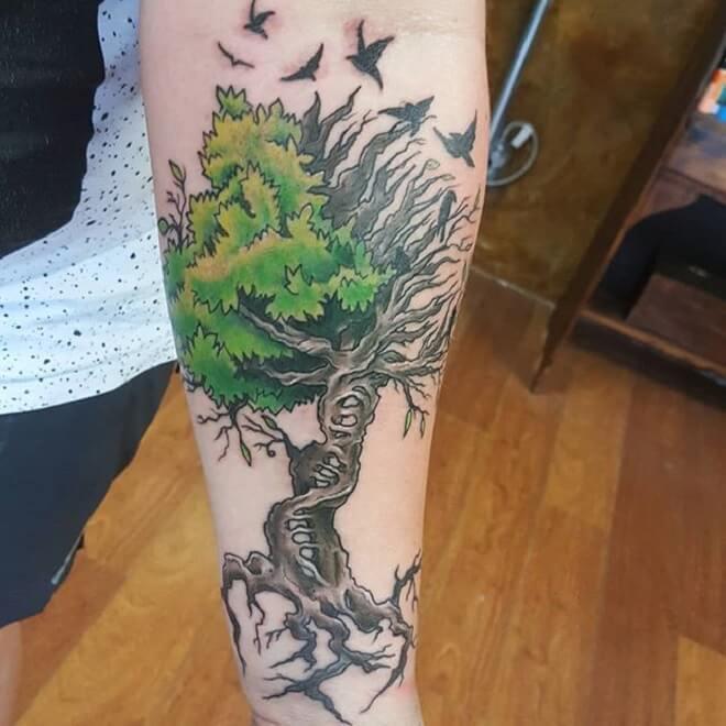 Green and Black Tree Tattoo