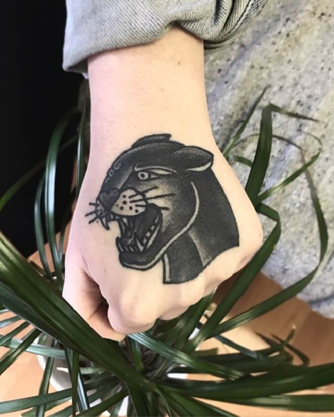 Hand Black Cat Tattoo
