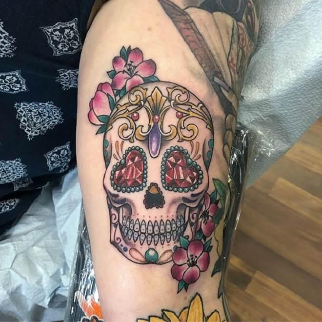Hand Sugar Skull Tattoo