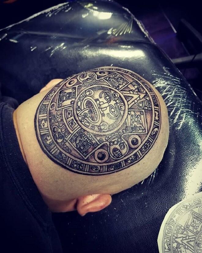 Head Aztec Tattoo