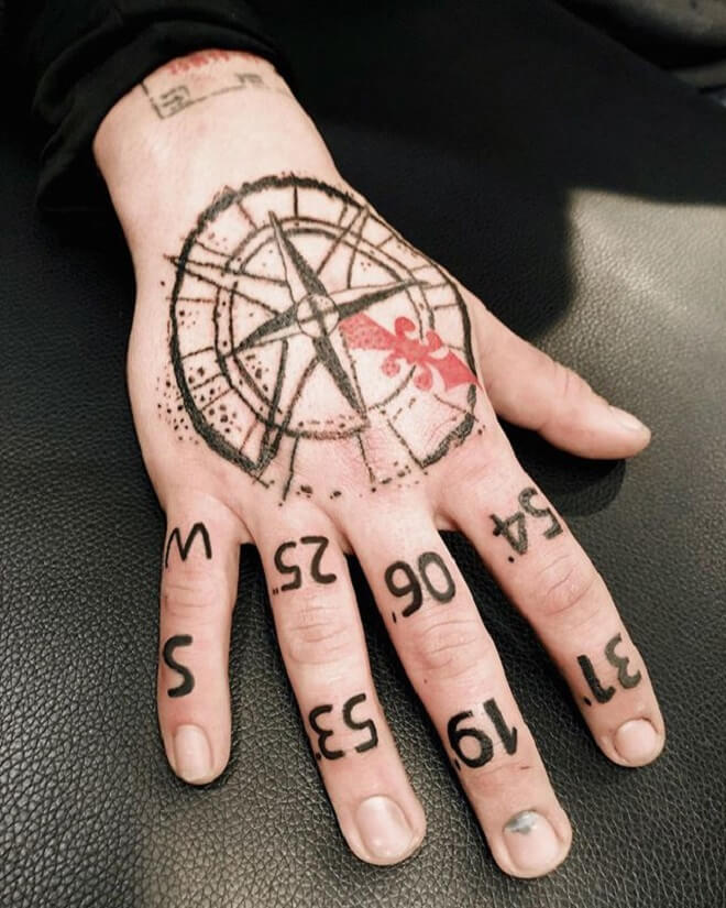 Heand Compass Tattoo