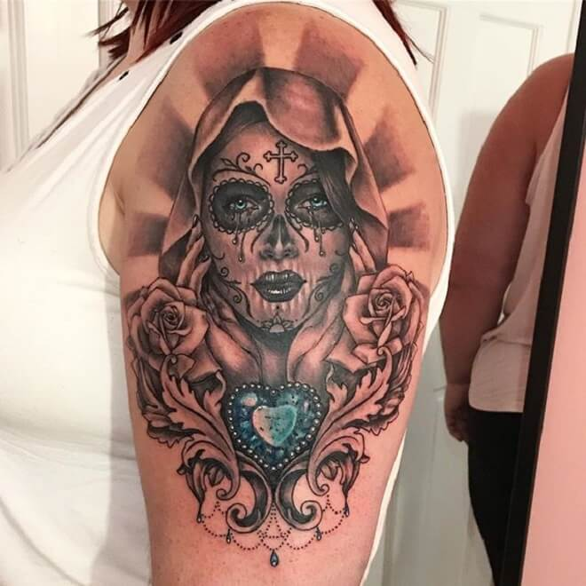 Heart Day of the Dead Girl Tattoo