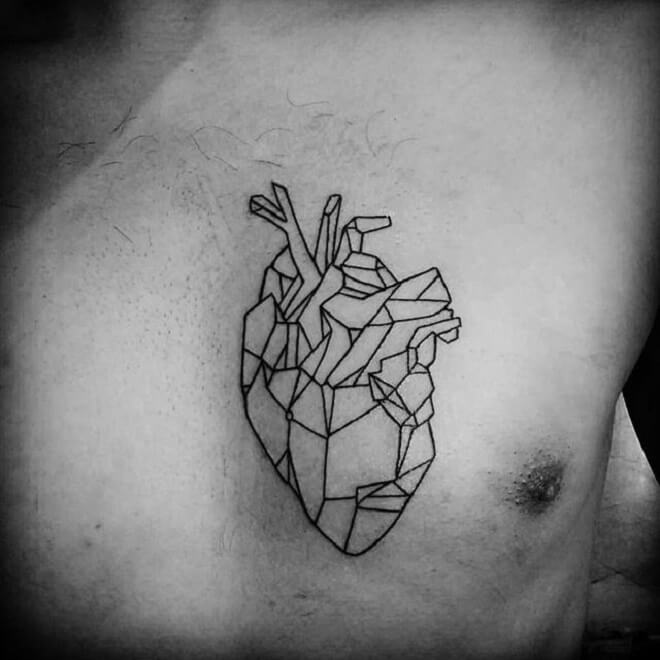 Heart Geometric Tattoo Designs