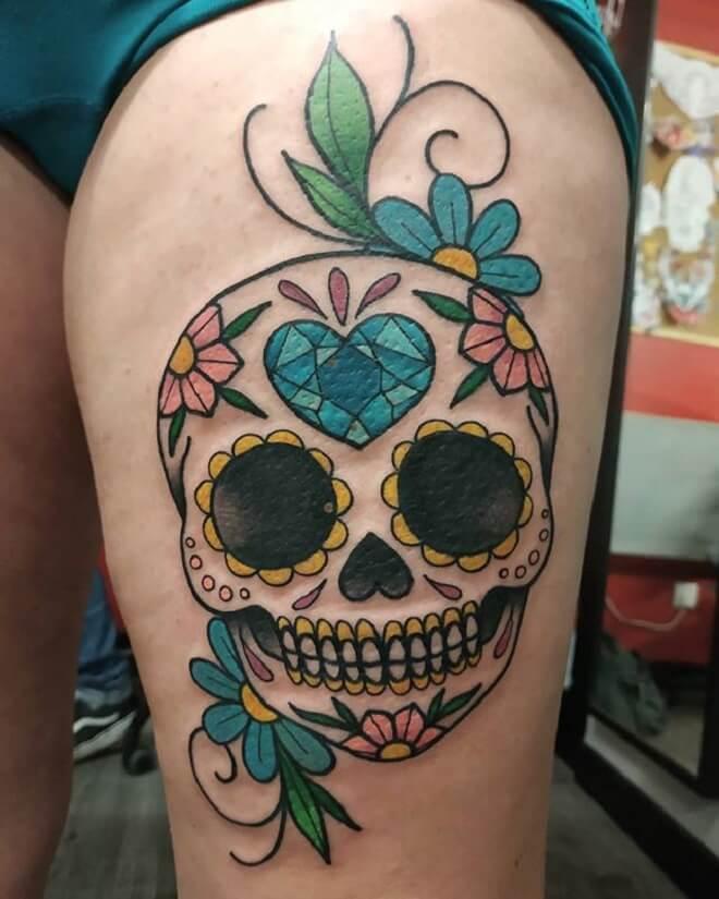 Heart Sugar Skull Tattoo