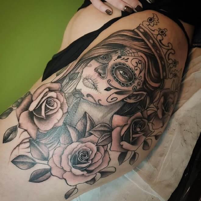 Hip Day of the Dead Girl Tattoo