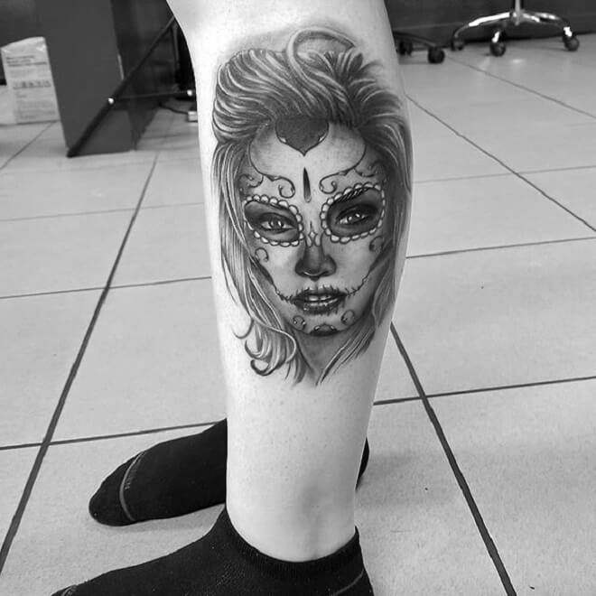 Leg Day of the Dead Girl Tattoo