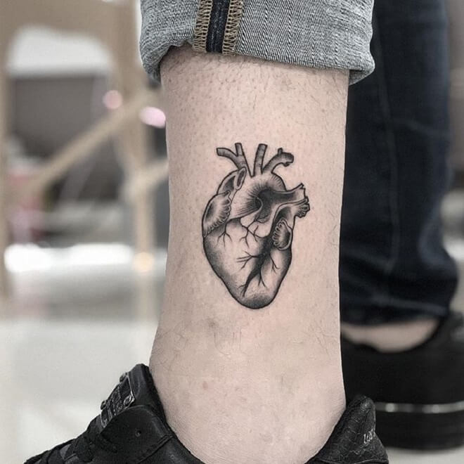 Leg Heart Tattoos