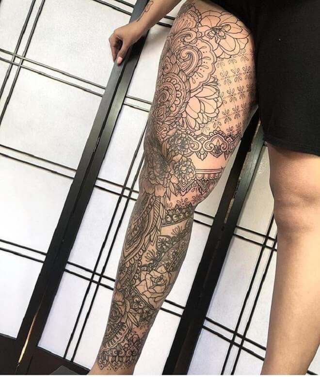 Leg Mandala Tattoo