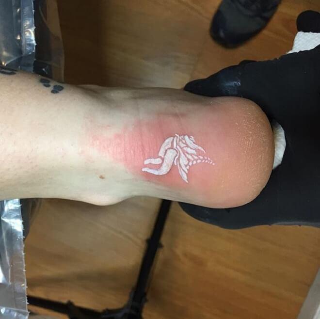 Leg White ink Tattoo