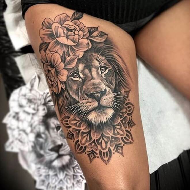 Lion Leg Tattoos