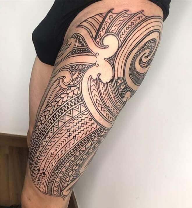 Maori Thigh Tattoo