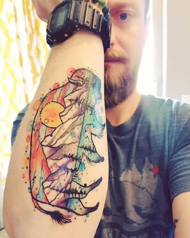 Mountain Watercolor Tattoo