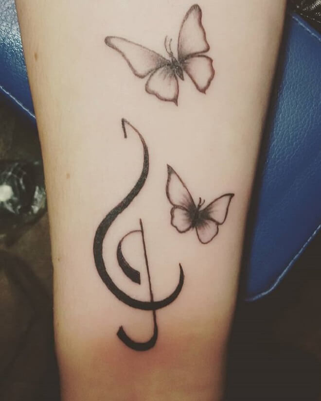 Music Butterfly Tattoo