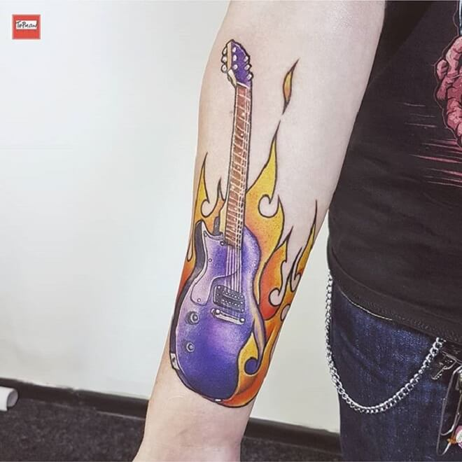 Music Fire Tattoo
