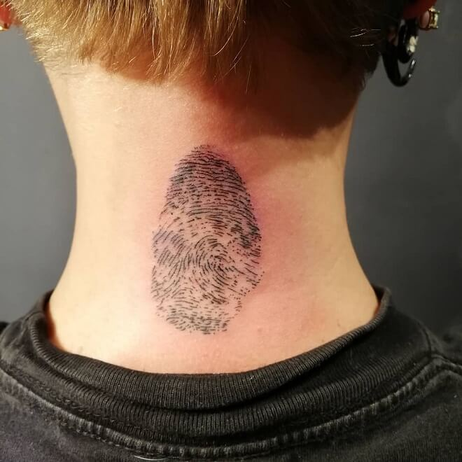 Neck Fingerprint Tattoo