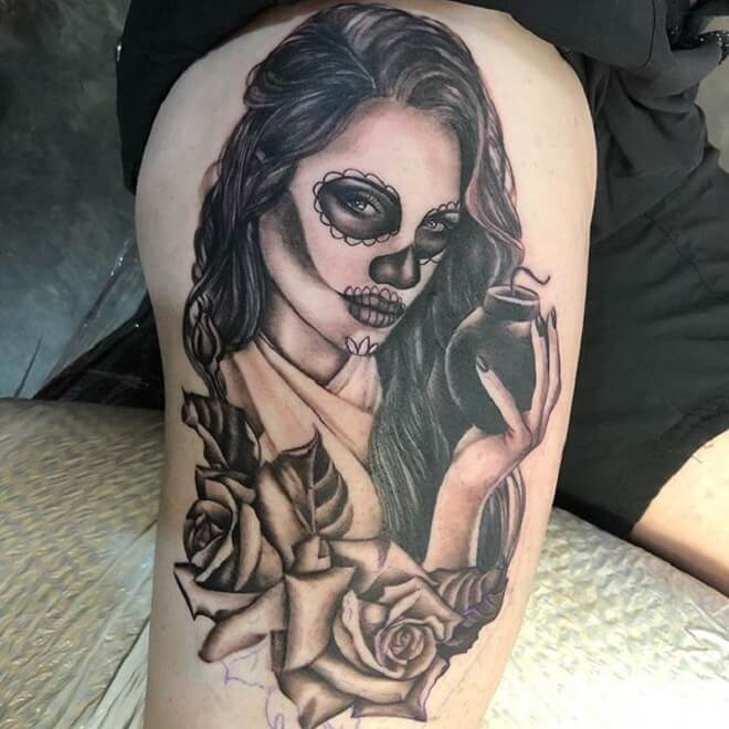 Popular Day of the Dead Girl Tattoo
