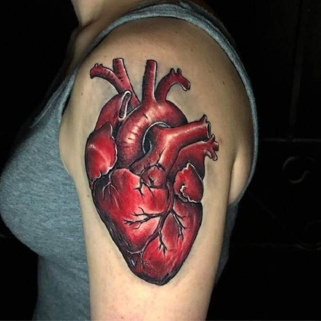 Red Color Heart Tattoos