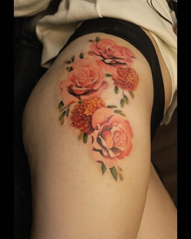 Red Rose Hip Tattoo