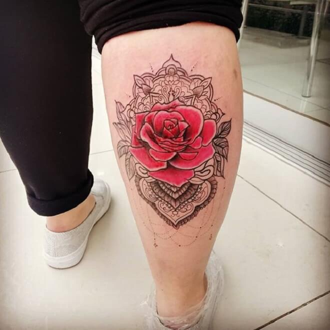Red Ross Mandala Tattoo