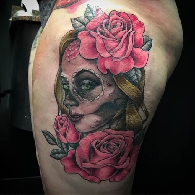 Rose Day of the Dead Girl Tattoo