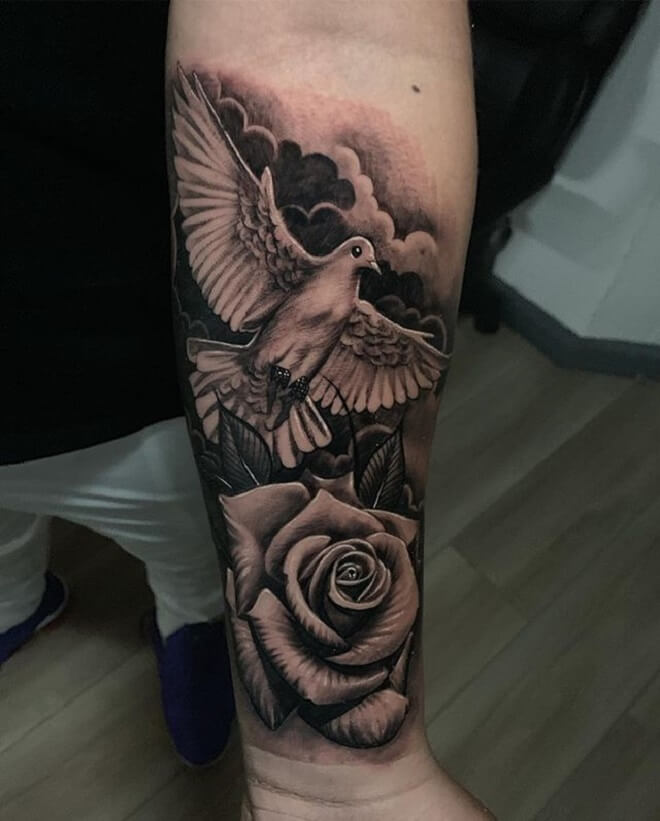Rose Dove Tattoo