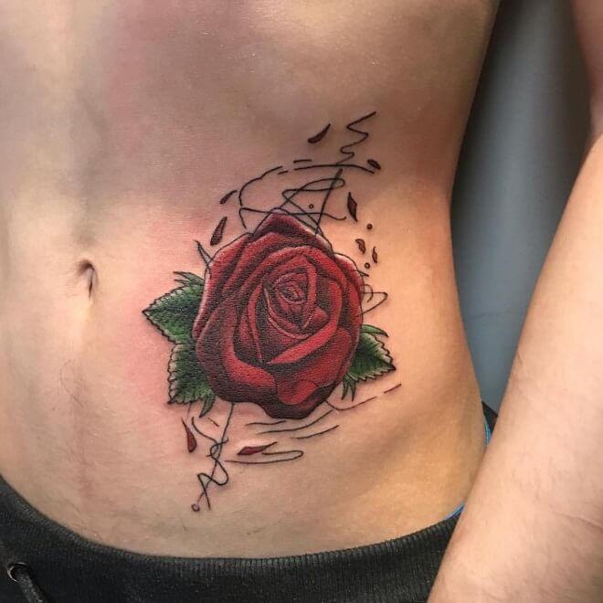 Rose Stomach Tattoo