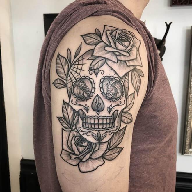Rose Sugar Skull Tattoo