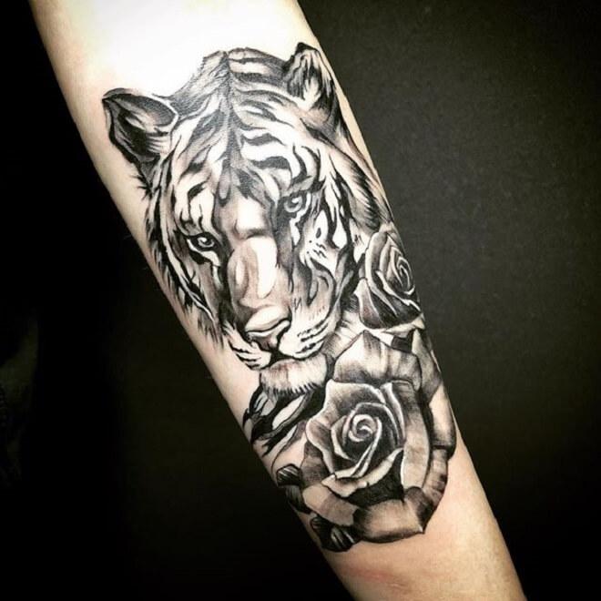 Rose Tiger Tattoo