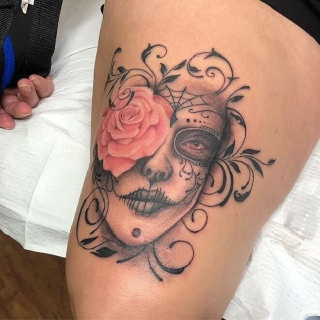 Simple Day of the Dead Girl Tattoo