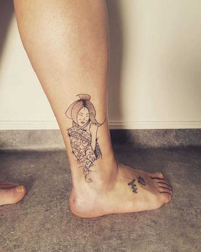 Simple Leg Geisha Tattoo