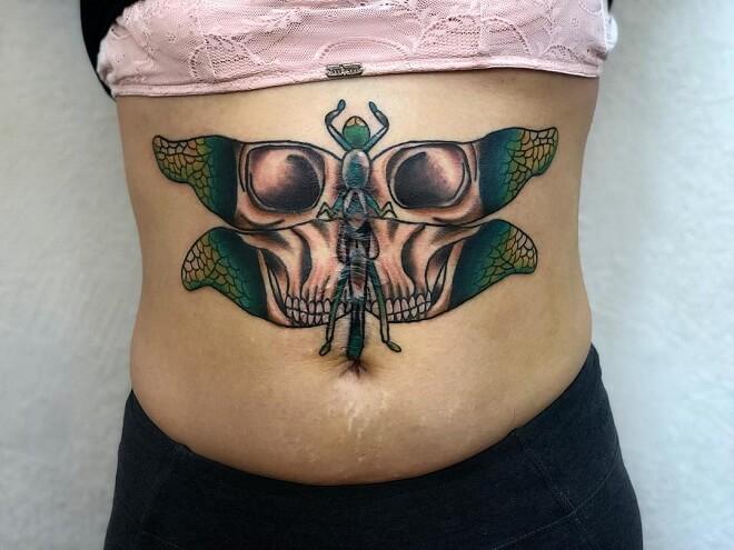Skull Stomach Tattoo