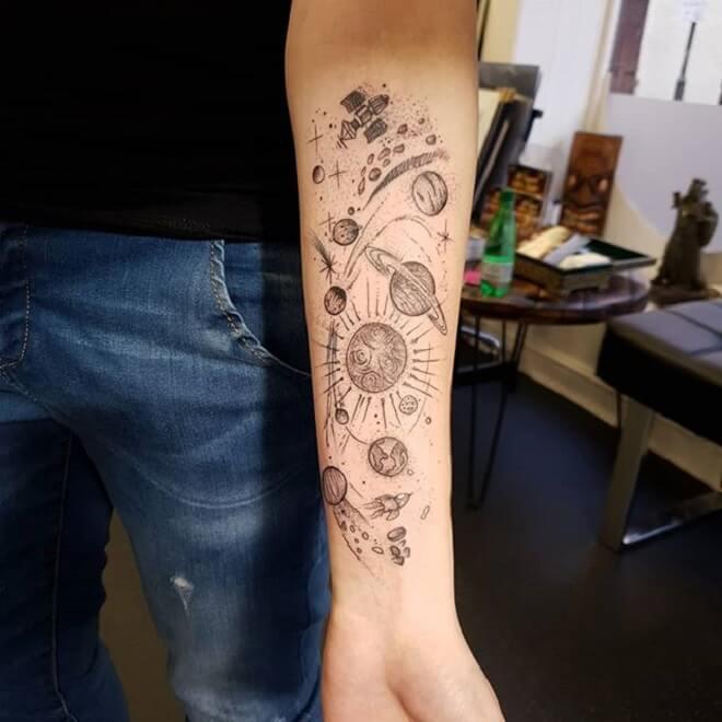Solar System Hand Tattoo