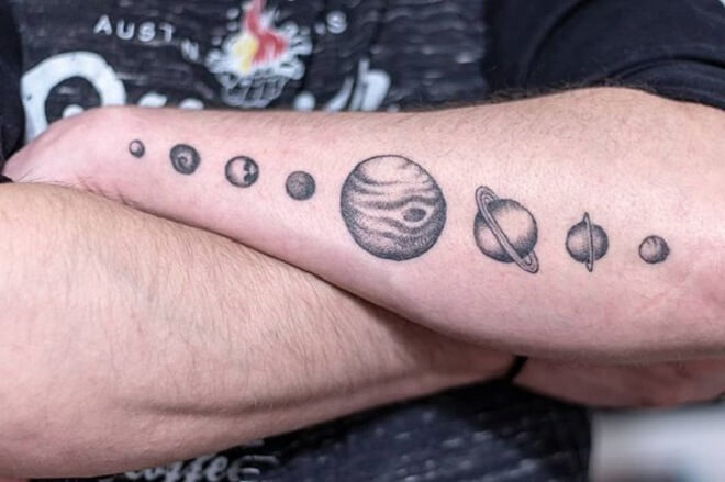 Solar System Tattoo for Men