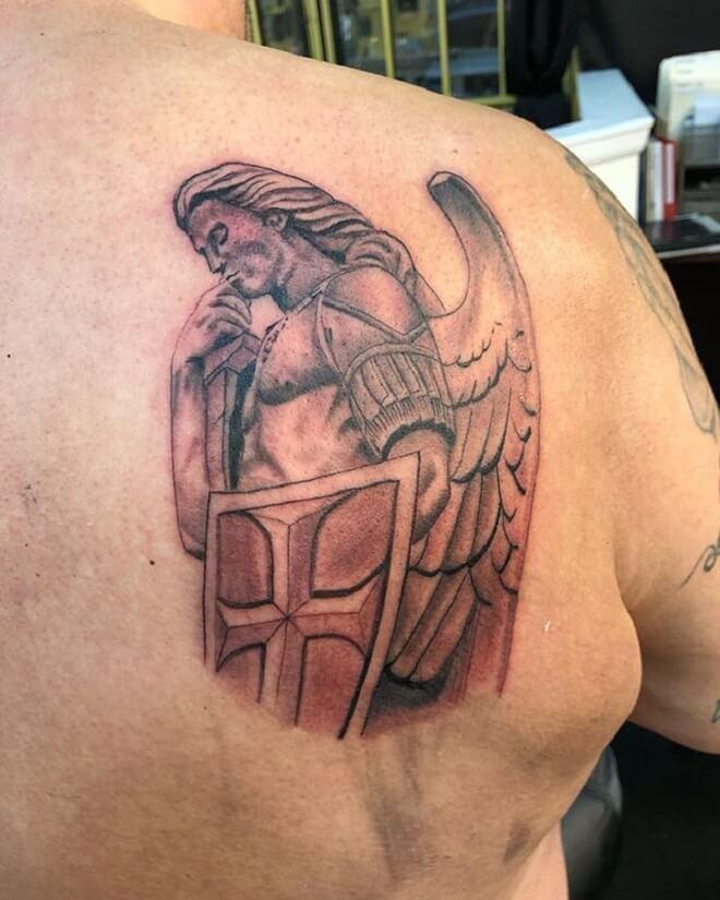 St Michael Back Tattoo