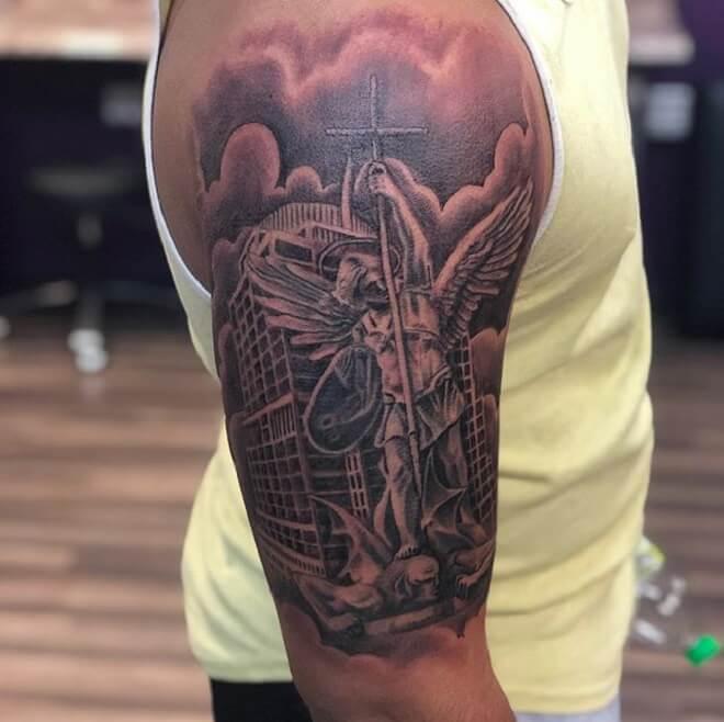 St Michael Tattoo Black Art