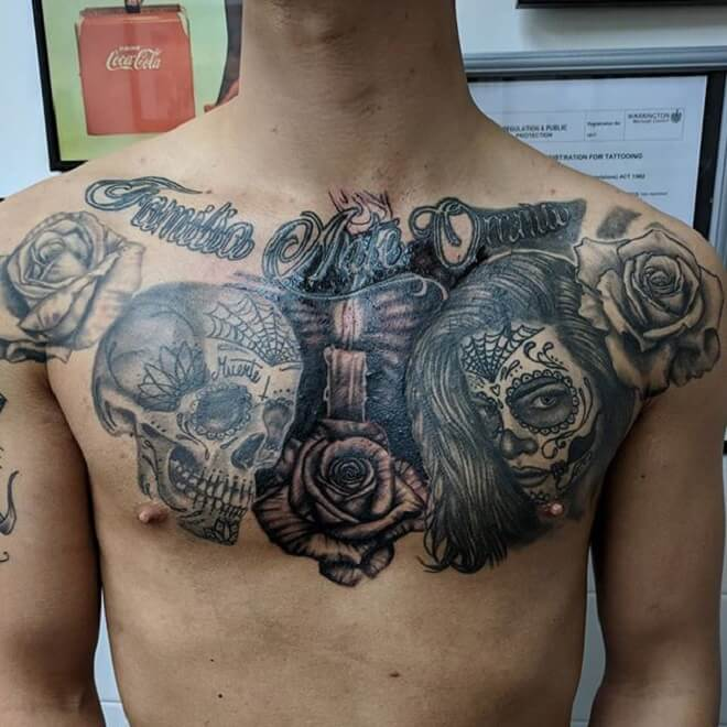 Sugar Skull Chest Tattoo