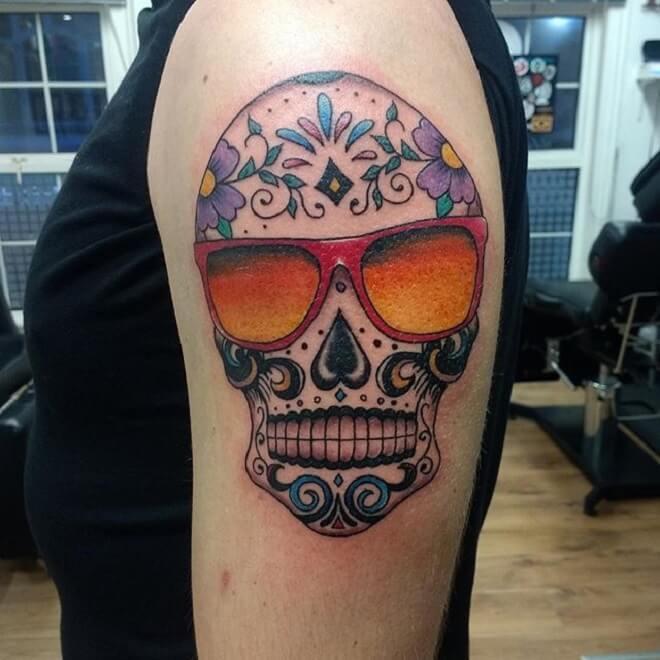 Sugar Skull Style Tattoo