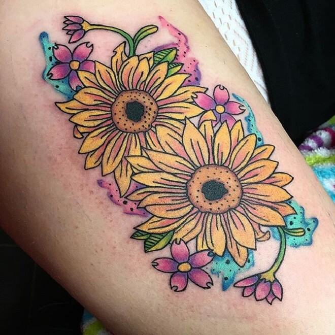 Sun Flower Cherry Blossom Tattoo