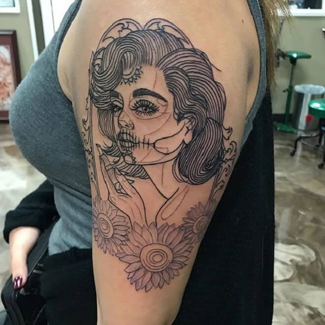 Sunflower Day of the Dead Girl Tattoo