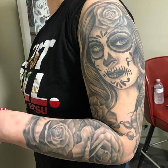 Super Day of the Dead Girl Tattoo