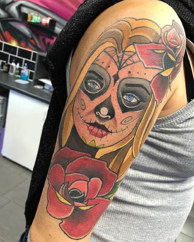 Supreme Day of the Dead Girl Tattoo