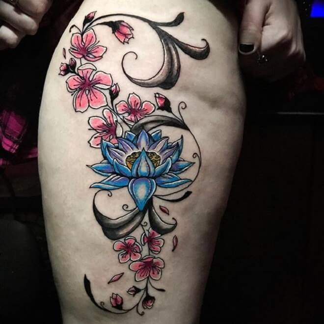 Thigh Cherry Blossom Tattoo