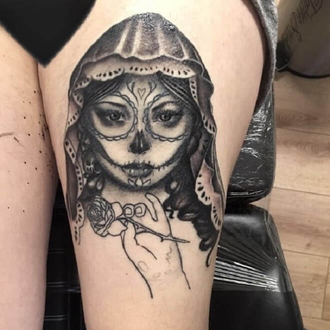 d34386c28 Top 30 Day of the Dead Girl Tattoos | Day of the Dead Girl Tattoo ...