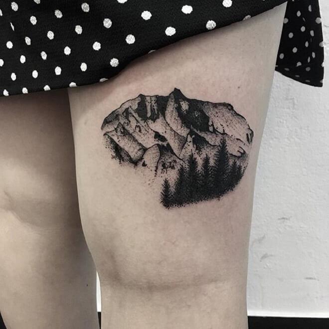 Thigh Mountain Tattoos