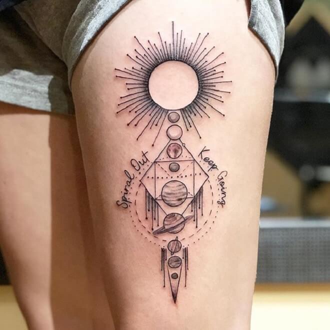 Thigh Solar System Tattoo