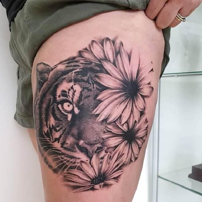 Thigh Tiger Tattoo