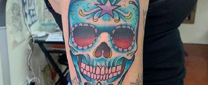 Top Sugar Skull Tattoo