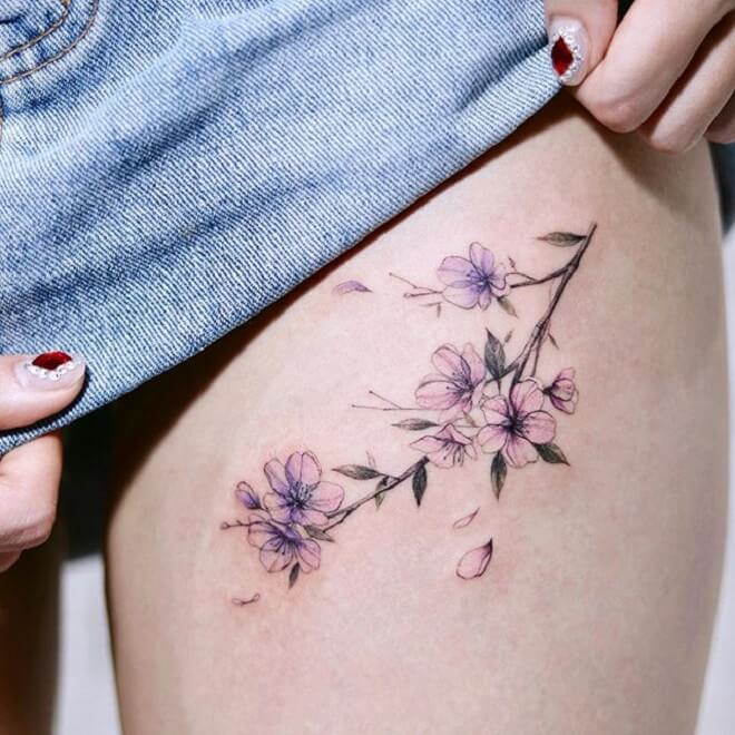 Watercolor Cherry Blossom Tattoos