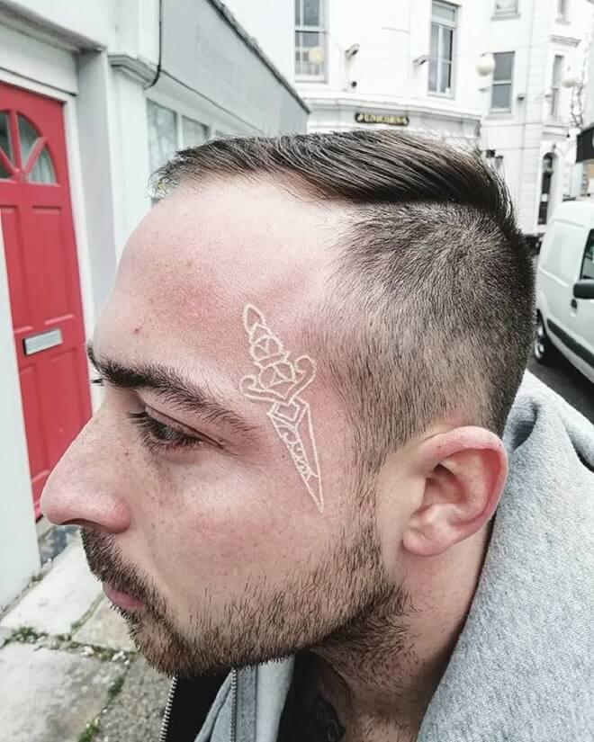 White ink Tattoo for Men